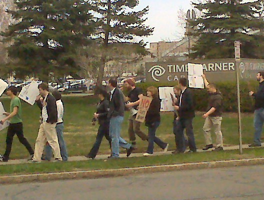 In front of Time Warner Cable protesting Internet Overcharging in 2009.