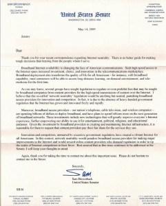 Full text of letter from Sen. Sam Brownback (R-Kansas) (click to enlarge)