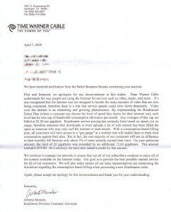 Time Warner Cable's 4/7/09 letter in response to a Better Business Bureau complaint regarding Internet Overcharging schemes implemented in the Golden Triangle, Texas (click to enlarge)