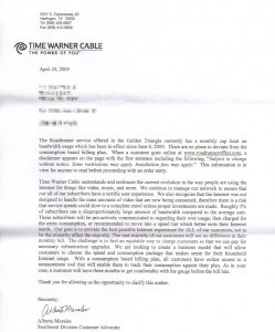 Time Warner Cable's follow-up letter of 4/29/09, in response to Mark's complaints that he was never told about the Internet Overcharging plan which subjected him to a 20GB monthly limit and $73 in overlimit penalties. (We assume the June 6, 2009 reference is a typo and should have read 2008) (click to enlarge)
