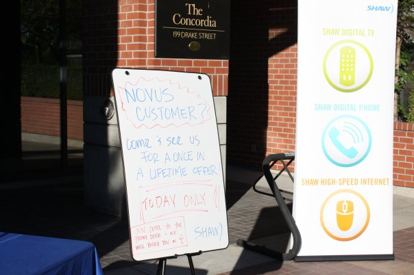 Sign outside of The Concordia in Vancouver promoting Shaw Communications' special offer (click to enlarge)