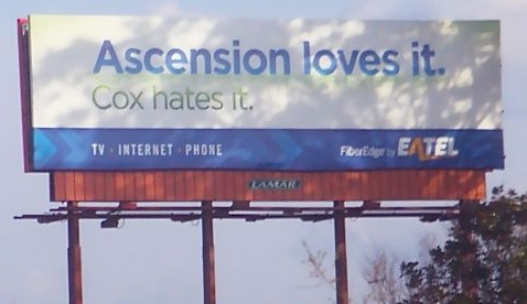 The Lafayette Pro-Fiber Blog found this EATel billboard taunting Cox