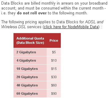 "Internode sells ""data blocks"" for consumers intending to exceed their allowance."