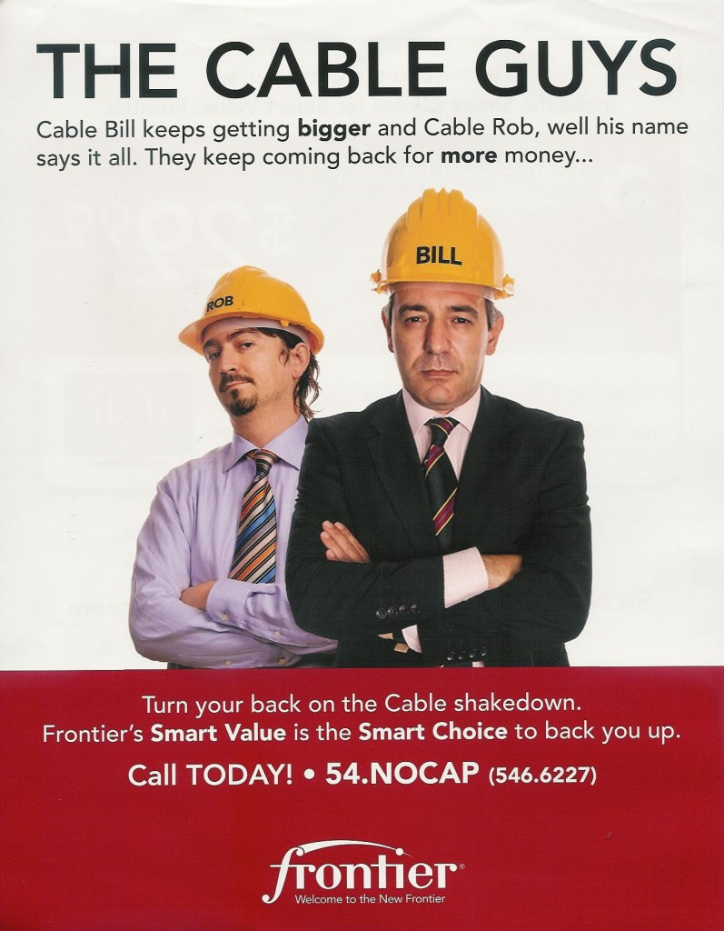 Frontier used Time Warner Cable's usage cap experiment against them in this ad to attract new customers in the spring of 2009.