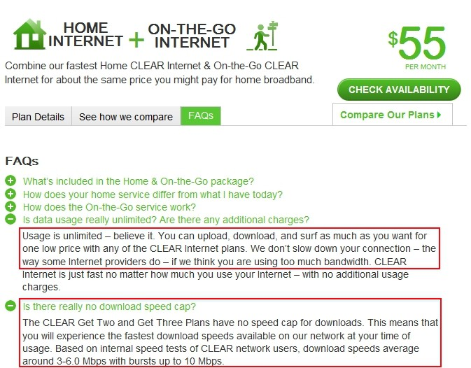 "Clear's own 2010 marketing promises unlimited usage with no speed reductions, like those ""other"" providers."