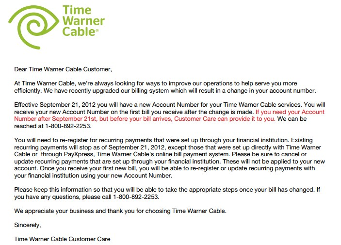Time Warner Cable San Diego Bill: Your Time Warner Cable Bill May Be Past Due; New Account Numbers rh:stopthecap.com,Design