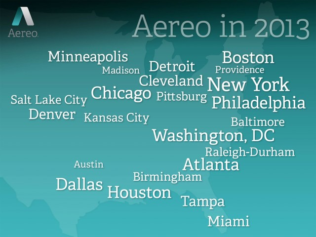 Aereo plans to expand to nearly two dozen cities in the coming year.