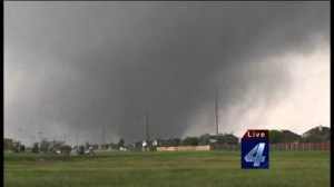 KFOR-TV in Oklahoma City captured this image of the destructive tornado that flattened parts of Moore, Okla.