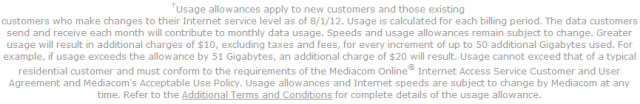 As of this afternoon, Mediacom is still promising customers usage caps only apply to new customers and those making plan changes.