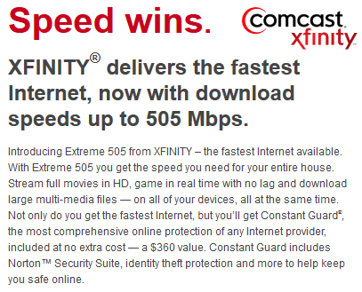 The best Comcast offers is 505/20Mbps service in select cities, with a price tag of $400 a month.