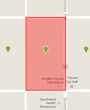 Census Block 958100-1-075, in downtown Tribune, has a population of 10.