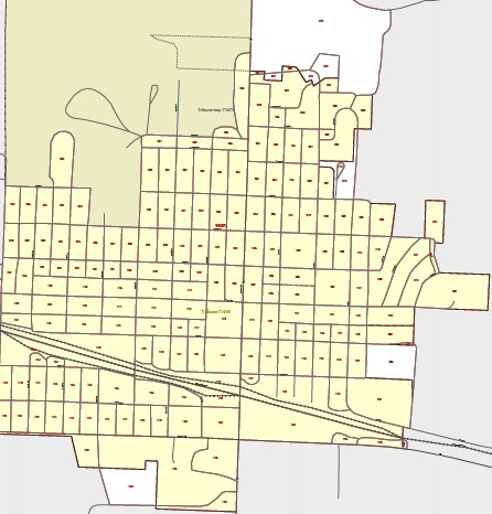 Each rectangle represents one census block within one census tract that partially covers Greeley County. Under the proposed legislation, a community provider would have to visit every census block to verify whether a private company is capable of providing service, including satellite Internet access.