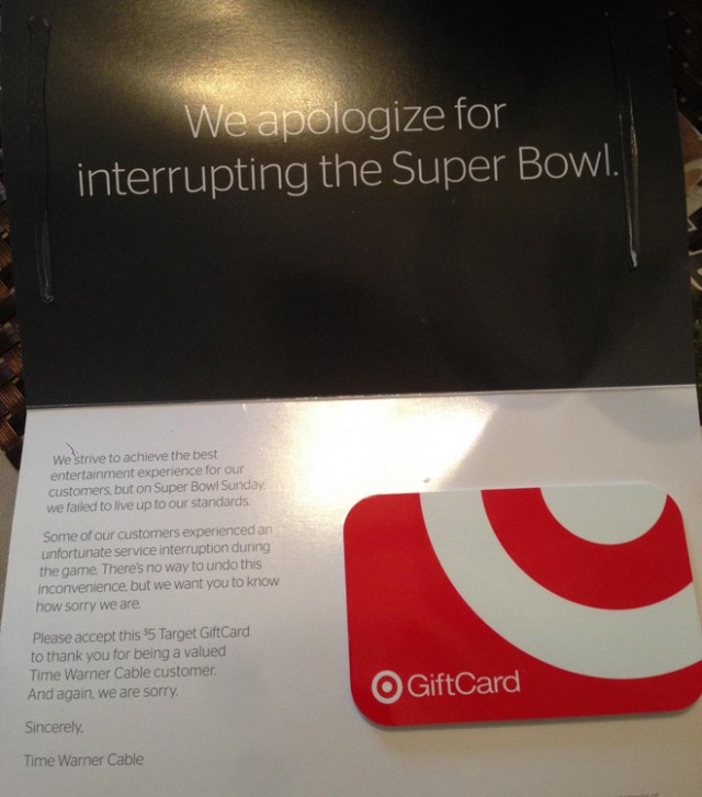 Time Warner Cable sends $5 Target gift cards to customers in Southern California.