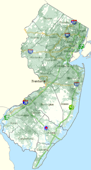 Northwest, central and southern New Jersey all lack solid broadband coverage. (Map: Connecting NJ)