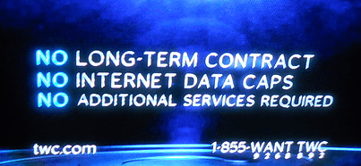 "Time Warner Cable goes out of its way to advertise ""No Data Caps."""