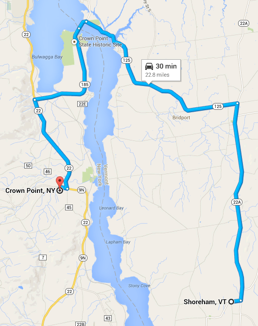 Shoreham, Vt. to Crown Point, N.Y. by auto.