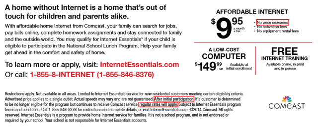 Internet Essentials promises no rate increases, but the fine print suggests otherwise.