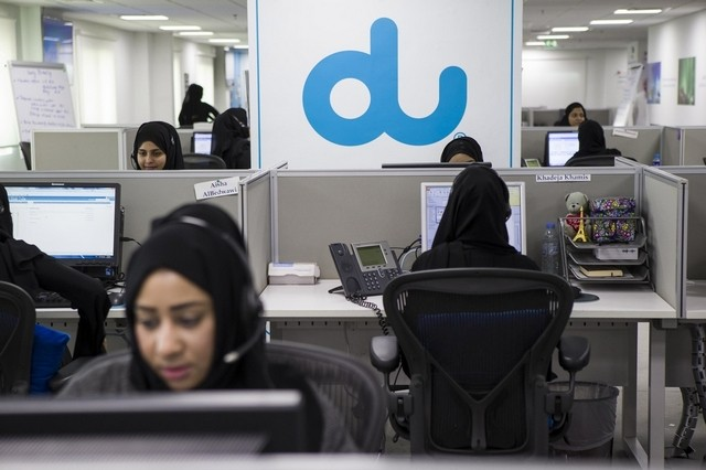 du's call center is 91%  female and 100% staffed by citizens of the UAE. (Photo: The National)