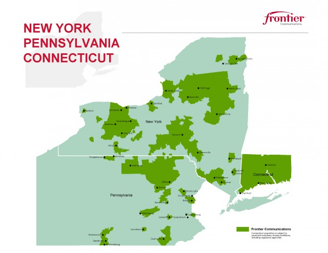 Frontier's proposed northeastern service areas would add almost the entire state of Connecticut to its holdings in mostly-rural upstate New York and Pennsylvania and the urban metropolitan Rochester, N.Y. 585 area code region.