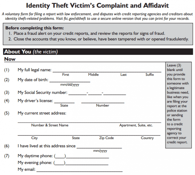 Comcast's identify theft reporting form runs six pages and requires a police report, a notarized signature, and  copies of your valuable photo ID.