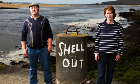 Protestors oppose the Shell Oil natural gas pipeline in western Ireland.