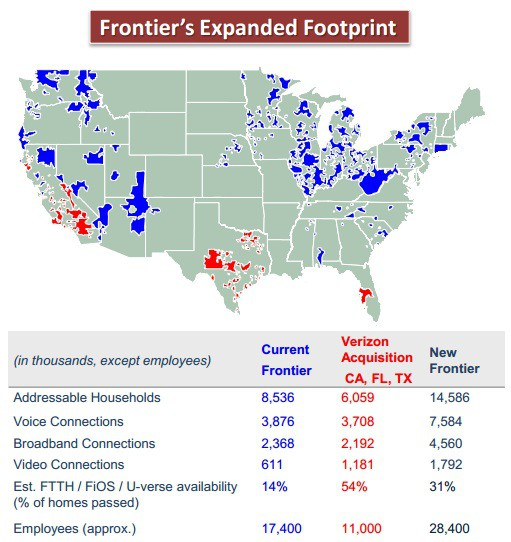 Frontier Fiber Map Frontier's Acquisition of Verizon Landline/FiOS Properties in  Frontier Fiber Map
