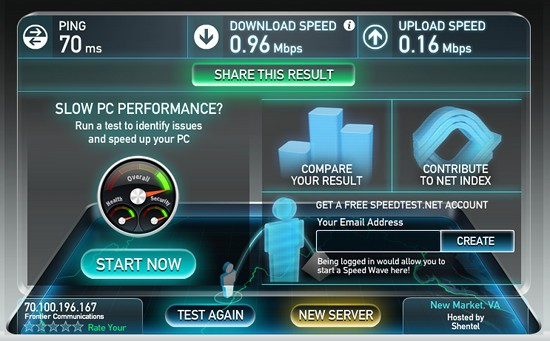 "Speed tests on Frontier's ""High-Speed Max"" Internet service aren't high speed at all."