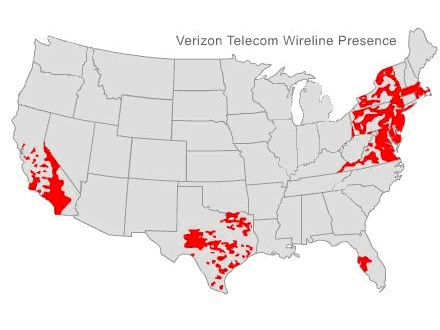 Verizon's landline coverage map.