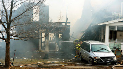 Ware's home was destroyed, but his cable service lived on. (Image: Pioneer Press)
