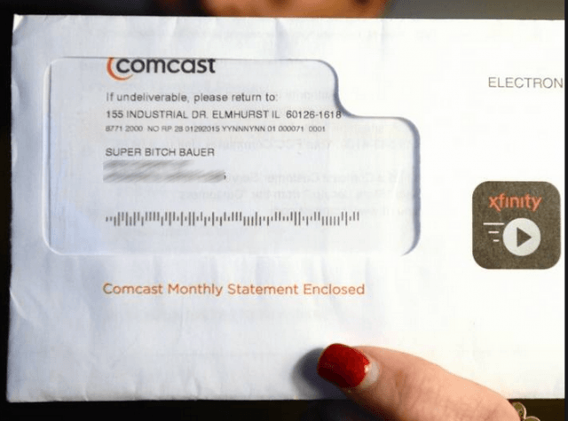 """Comcast changed the name of this customer to """"Super Bitch Bauer"""" in their billing records."""