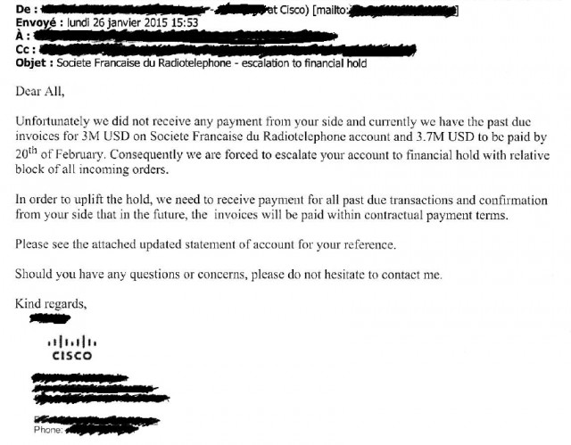 Drahi's company even stiffed Cisco, which sent this warning note suspending shipments pending payment.