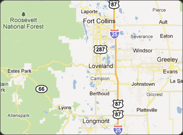 Fort Collins is about a one hour and fifteen minute drive north of Denver.