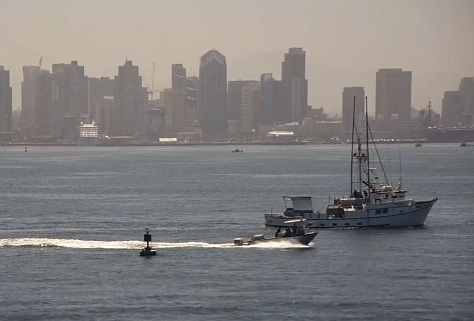 The website responsible for initiating the complaint shows live webcam footage of the San Diego Bay.