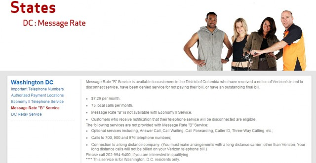 """Verizon's discount calling program """"Message Rate B"""" is only available to Washington, D.C. residents who have been threatened with final disconnection by Verizon."""
