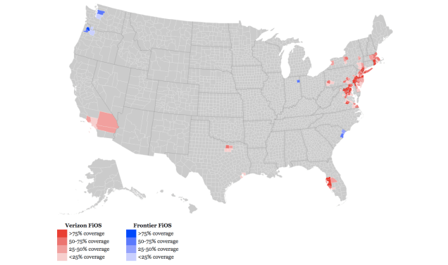And, we're done. Verizon FiOS availability map also showing areas subsequently sold to Frontier.
