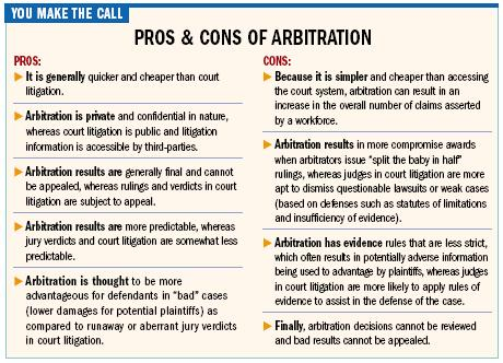 arbitration pros cons