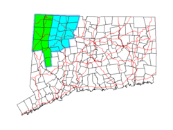 Northwest Connecticut region is shown in green and the Litchfield Hills region in blue.