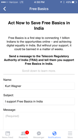 "Facebook users across India (and some in the U.S.) were invited to defend ""digital equality,"" which critics define as ""opposing Net Neutrality""."