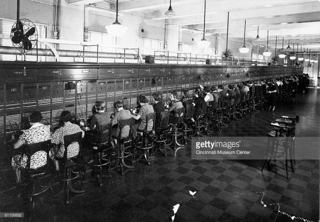 1930s: View of half of the world's longest switchboard at the City and Suburban Telegraph Company (later Cincinnati Bell Telephone). The board held 88 positions and handled a record of 9,722 outgoing calls in 1937. Cincinnati, Ohio. 01/01/1935 Photo by Cincinnati Historical Society/Getty Images