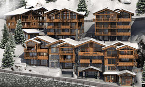 "A model of ""7 Heavens,"" a set of seven luxury chalets under construction in the ski resort of Zermatt. Drahi has already bought two. (Image: Capital.fr)"