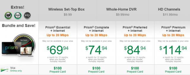 PrismTV + Internet, from CenturyLink