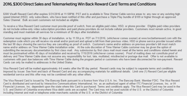 Just a sample of Time Warner's terms and conditions.