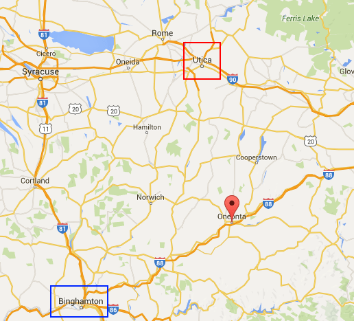 Oneonta, N.Y. is located between Binghamton and Utica.
