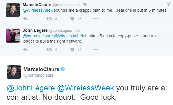 T-Mobile CEO John Legere and Sprint CEO Marcelo Claure traded tweet barbs this morning.
