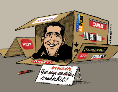 Look what's in the box. MergeMaster Patrick Drahi. (Illustration: Michel Kichka)