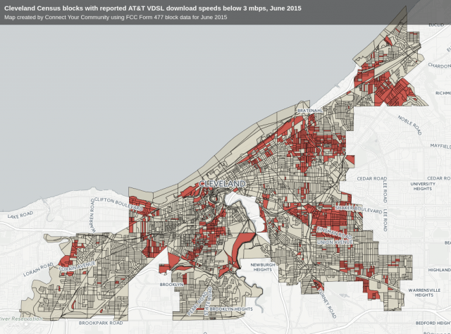 Slowsville: These Cleveland neighborhoods marked in red cannot get anything faster than 1.5MBps DSL from AT&T.