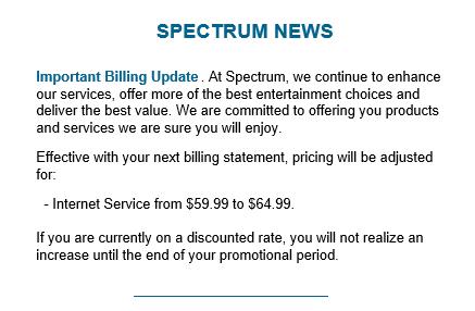 Charter Spectrum Raising Broadband Prices 5 64 99 Mo