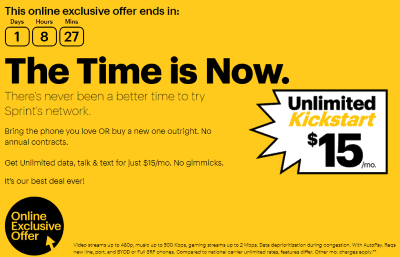 Sprint Offering $15/Mo Unlimited Call/Text/Data Plan to New