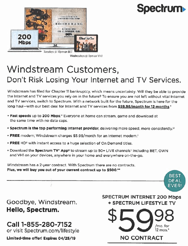 windstream sues charter over lookalike mailers questioning