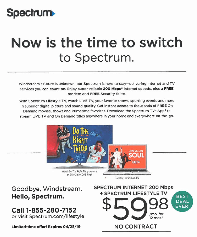 Windstream Sues Charter Over Lookalike Mailers Questioning Phone Company's Future
